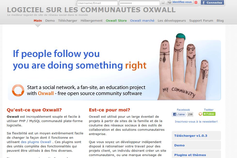 Oxwall : CMS communautaire, Réseaux sociaux