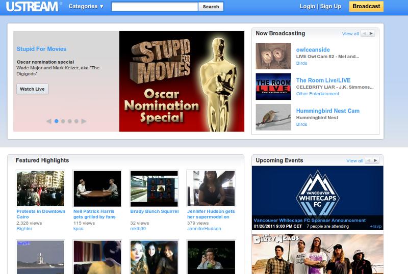 Ustream - Diffusez votre Webcam sur votre site Internet