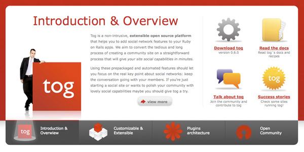 Tog, Applications de réseaux sociaux en Ruby on Rails
