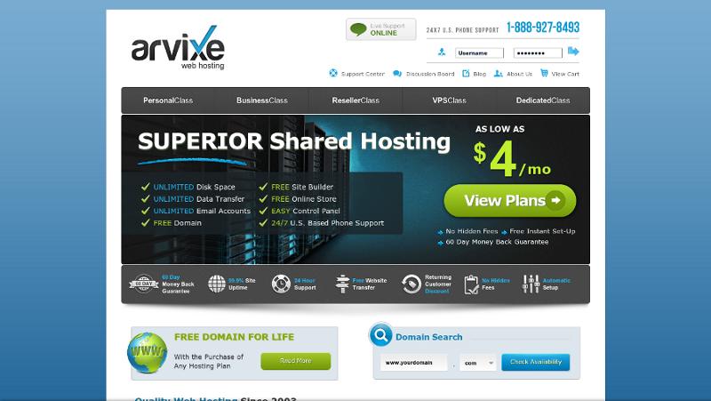 Hébergement Web avec Arvixe