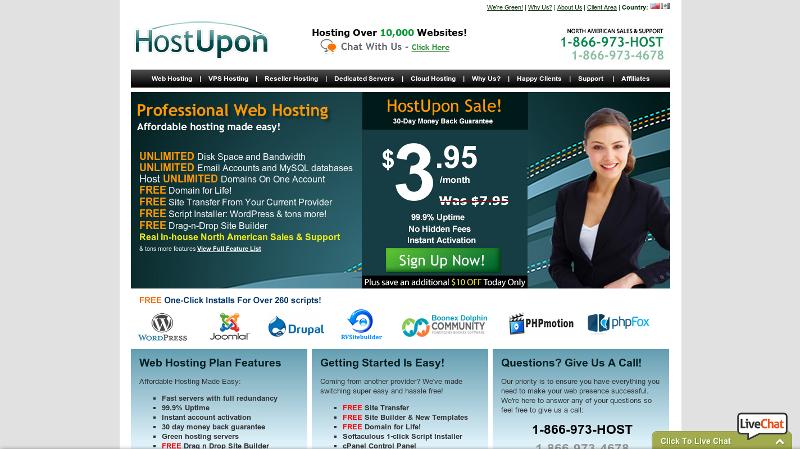 Hébergeur bon marché prix avec HostUpon