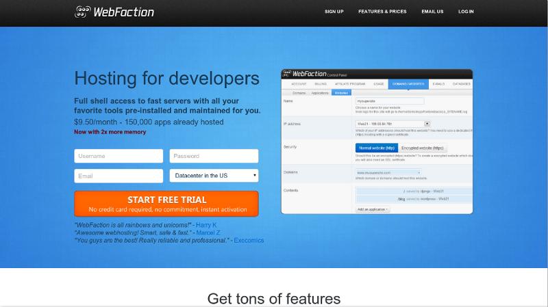 Hébergeur semi-dédié avec WebFaction