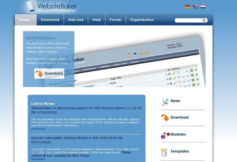 Web Site Baker, Mini CMS