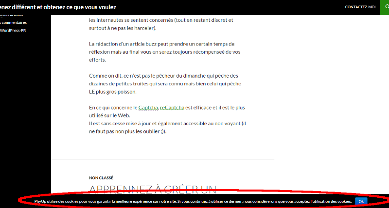 Exemple de PopUp avec Cookie Notice